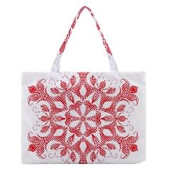 Red Pattern Filigree Snowflake On White Medium Zipper Tote Bag by Amaryn4rt