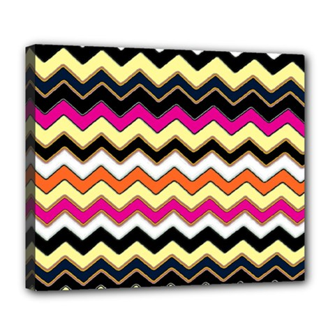 Colorful Chevron Pattern Stripes Deluxe Canvas 24  X 20   by Amaryn4rt