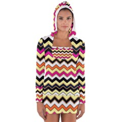 Colorful Chevron Pattern Stripes Women s Long Sleeve Hooded T Shirt