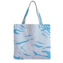 Blue Tiger Animal Pattern Digital Zipper Grocery Tote Bag by Amaryn4rt