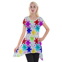 Snowflake Pattern Repeated Short Sleeve Side Drop Tunic