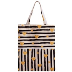 Black Lines And Golden Hearts Pattern Classic Tote Bag by TastefulDesigns