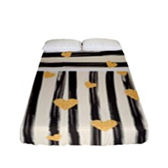 Black Lines And Golden Hearts Pattern Fitted Sheet (full/ Double Size) by TastefulDesigns