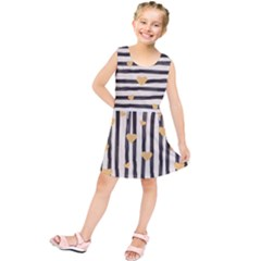 Black Lines And Golden Hearts Pattern Kids  Tunic Dress by TastefulDesigns