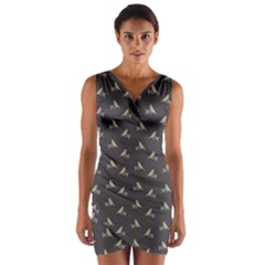 Nordic Bird Wrap Front Bodycon Dress by ChihuahuaShower