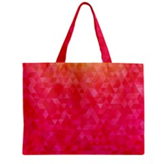 Abstract Red Octagon Polygonal Texture Zipper Mini Tote Bag by TastefulDesigns