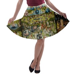 Hieronymus Bosch Garden Of Earthly Delights A Line Skater Skirt by MasterpiecesOfArt