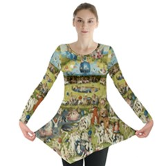 Hieronymus Bosch Garden Of Earthly Delights Long Sleeve Tunic  by MasterpiecesOfArt