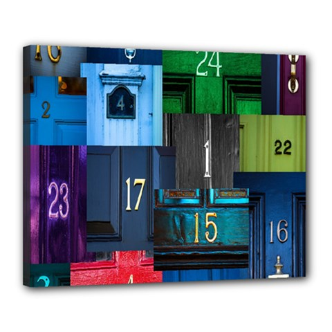 Door Number Pattern Canvas 20  X 16  by Amaryn4rt