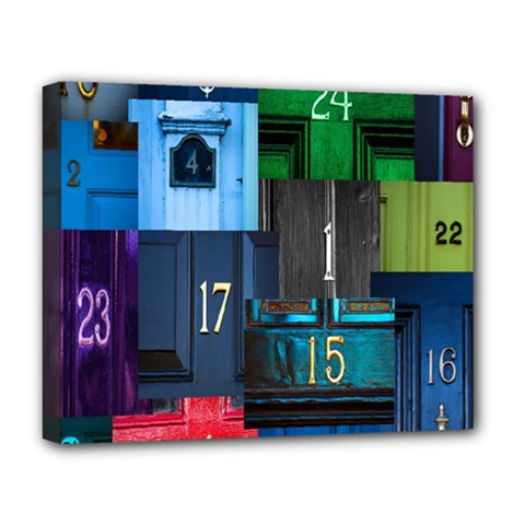 Door Number Pattern Deluxe Canvas 20  X 16   by Amaryn4rt