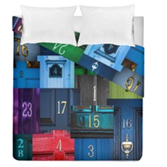 Door Number Pattern Duvet Cover Double Side (queen Size) by Amaryn4rt
