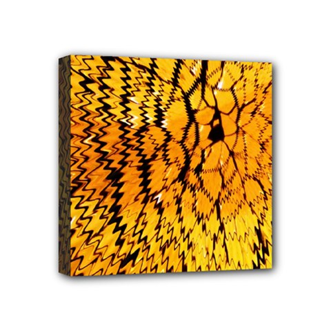 Yellow Chevron Zigzag Pattern Mini Canvas 4  X 4  by Amaryn4rt