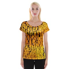 Yellow Chevron Zigzag Pattern Women s Cap Sleeve Top by Amaryn4rt