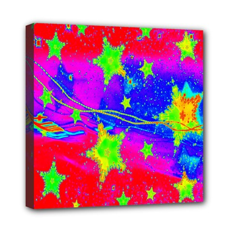 Red Background With A Stars Mini Canvas 8  X 8  by Amaryn4rt