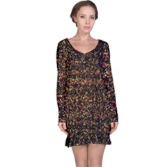 Colorful And Glowing Pixelated Pattern Long Sleeve Nightdress