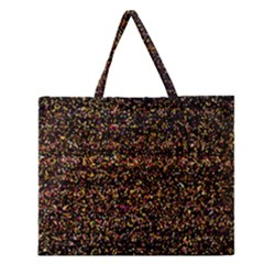 Colorful And Glowing Pixelated Pattern Zipper Large Tote Bag by Amaryn4rt