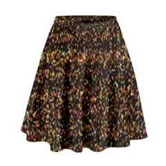 Colorful And Glowing Pixelated Pattern High Waist Skirt by Amaryn4rt