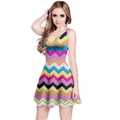 Chevrons Pattern Art Background Reversible Sleeveless Dress