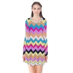 Chevrons Pattern Art Background Flare Dress