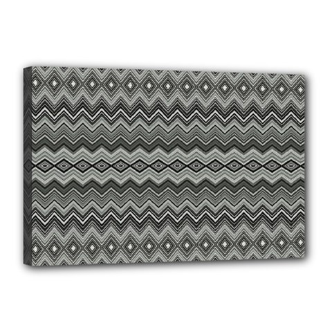 Greyscale Zig Zag Canvas 18  X 12  by Amaryn4rt