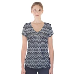 Greyscale Zig Zag Short Sleeve Front Detail Top by Amaryn4rt