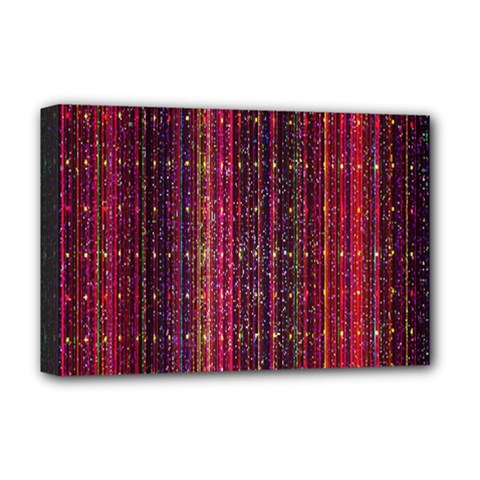 Colorful And Glowing Pixelated Pixel Pattern Deluxe Canvas 18  X 12   by Amaryn4rt