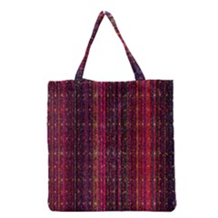 Colorful And Glowing Pixelated Pixel Pattern Grocery Tote Bag by Amaryn4rt