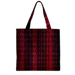 Colorful And Glowing Pixelated Pixel Pattern Zipper Grocery Tote Bag by Amaryn4rt