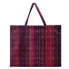 Colorful And Glowing Pixelated Pixel Pattern Zipper Large Tote Bag by Amaryn4rt