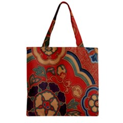 Vintage Chinese Brocade Zipper Grocery Tote Bag by Amaryn4rt