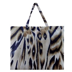 Tiger Background Fabric Animal Motifs Zipper Large Tote Bag by Amaryn4rt