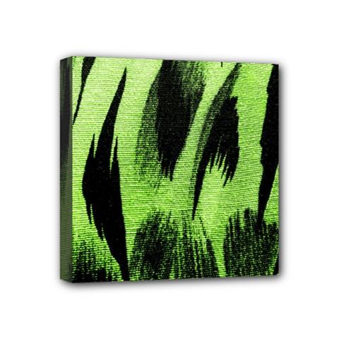 Green Tiger Background Fabric Animal Motifs Mini Canvas 4  X 4  by Amaryn4rt