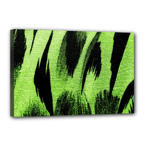 Green Tiger Background Fabric Animal Motifs Canvas 18  X 12