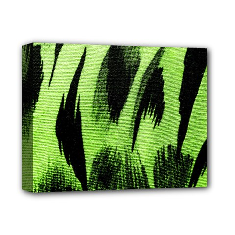 Green Tiger Background Fabric Animal Motifs Deluxe Canvas 14  X 11  by Amaryn4rt