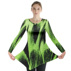 Green Tiger Background Fabric Animal Motifs Long Sleeve Tunic