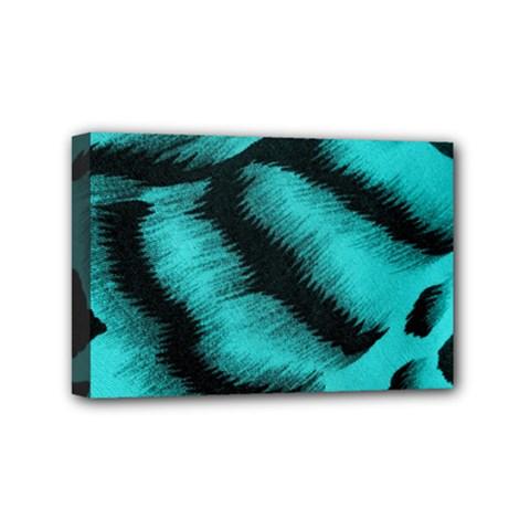 Blue Background Fabric Tiger  Animal Motifs Mini Canvas 6  X 4  by Amaryn4rt