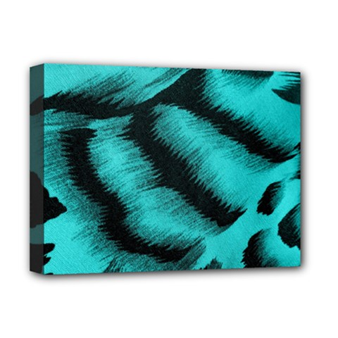 Blue Background Fabric Tiger  Animal Motifs Deluxe Canvas 16  X 12   by Amaryn4rt