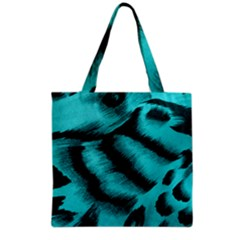 Blue Background Fabric Tiger  Animal Motifs Grocery Tote Bag by Amaryn4rt