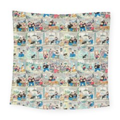 Old Comic Strip Square Tapestry (large) by Valentinaart