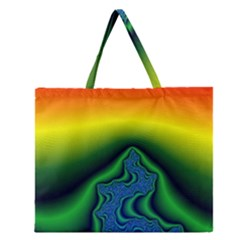 Fractal Wallpaper Water And Fire Zipper Large Tote Bag by Amaryn4rt