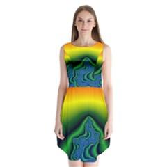 Fractal Wallpaper Water And Fire Sleeveless Chiffon Dress