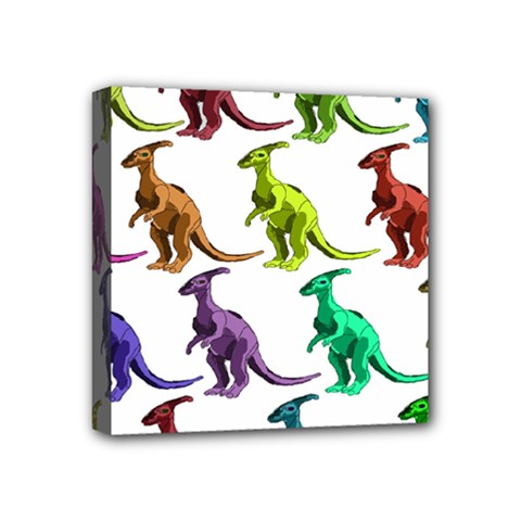 Multicolor Dinosaur Background Mini Canvas 4  X 4  by Amaryn4rt