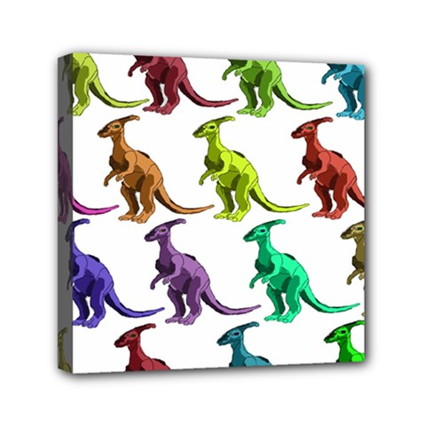 Multicolor Dinosaur Background Mini Canvas 6  X 6  by Amaryn4rt