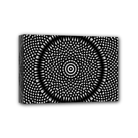 Black Lace Kaleidoscope On White Mini Canvas 6  X 4  by Amaryn4rt