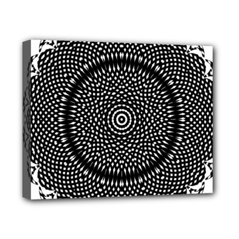 Black Lace Kaleidoscope On White Canvas 10  X 8  by Amaryn4rt