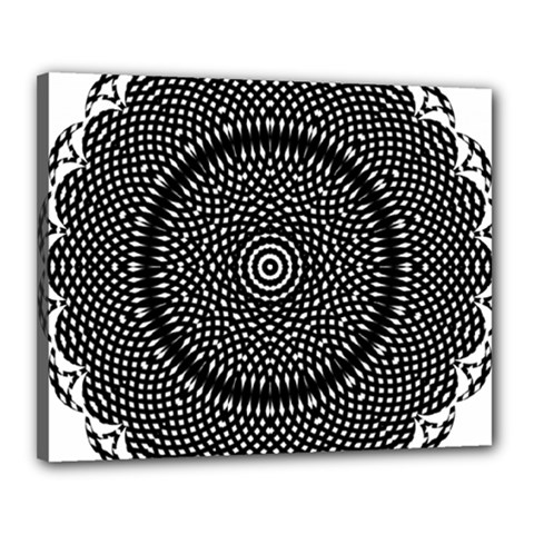 Black Lace Kaleidoscope On White Canvas 20  X 16  by Amaryn4rt