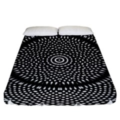 Black Lace Kaleidoscope On White Fitted Sheet (king Size) by Amaryn4rt
