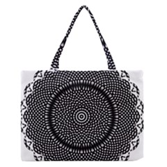 Black Lace Kaleidoscope On White Medium Zipper Tote Bag by Amaryn4rt