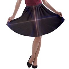 Color Fractal Symmetric Blue Circle A-line Skater Skirt by Amaryn4rt