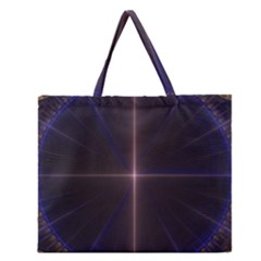 Color Fractal Symmetric Blue Circle Zipper Large Tote Bag by Amaryn4rt